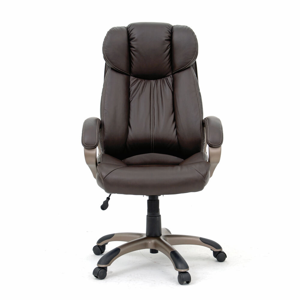 Leather Contoured Executive Swivel Tilt Chair In Brown
