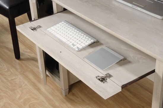 """59"""" Two-Drawer Solid Wood Computer Desk in Chalked Chestnut"""