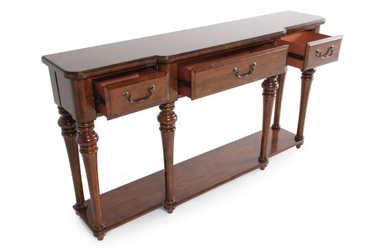 Turned Legs Contemporary Console Table in Chestnut