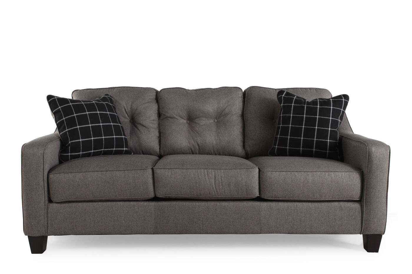 Contemporary Button Tufted 80 Quot Sofa In Charcoal Mathis