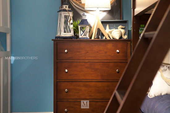 Four-Drawer Casual Chest in Dark Brown