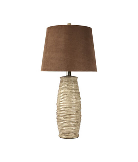 Contemporary Rope-Textured Ceramic Table Lamp in Beige