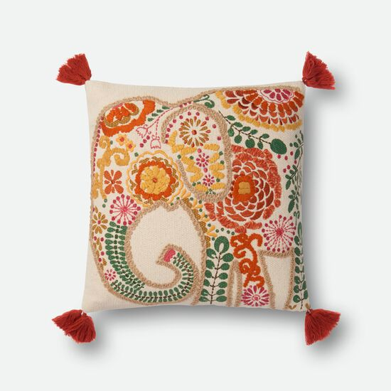 "Contemporary 18""x18"" Cover w/Down Pillow in Multi"