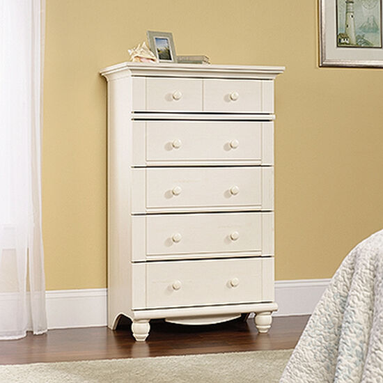 """50"""" Traditional Five-Drawer Chest in Antiqued White"""