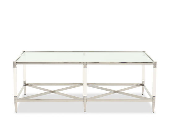 "53"" Glass Top Cocktail Table in Silver"