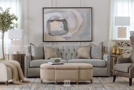 """Transitional Nailhead-Accented 96"""" Sofa in Gray"""