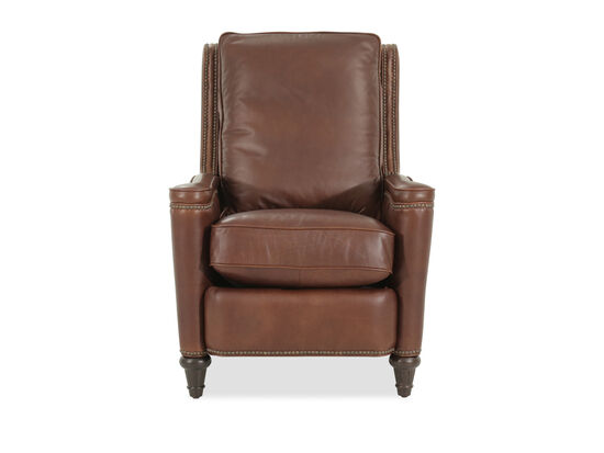 "Leather Box Cushion 30"" Pressback Recliner in Brown"