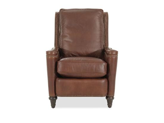 "Leather Box Cushion 30"" Pressback Reclinerin Brown"