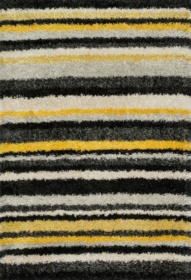 "Contemporary 3'-9""x5'-6"" Rug in Yellow/Multi"