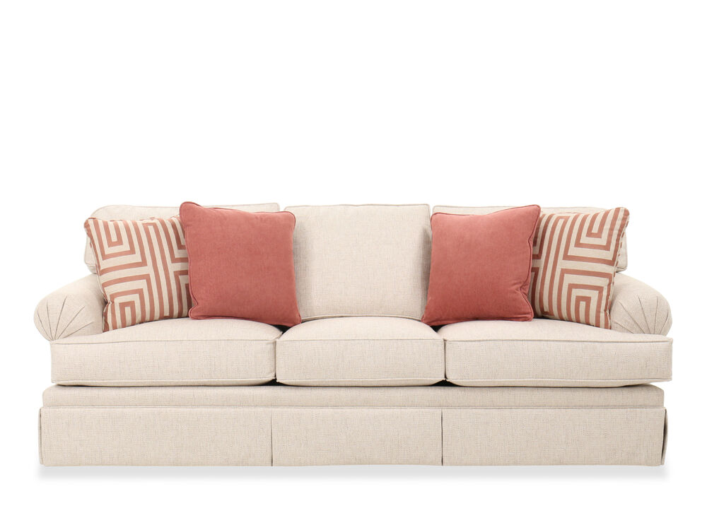 """93"""" Contemporary Roll Arm Sofa in Beige"""