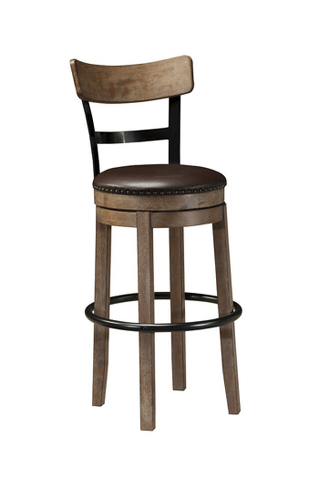 """Casual 43"""" Nailhead Accented Swivel Bar Stool in Light Brown"""