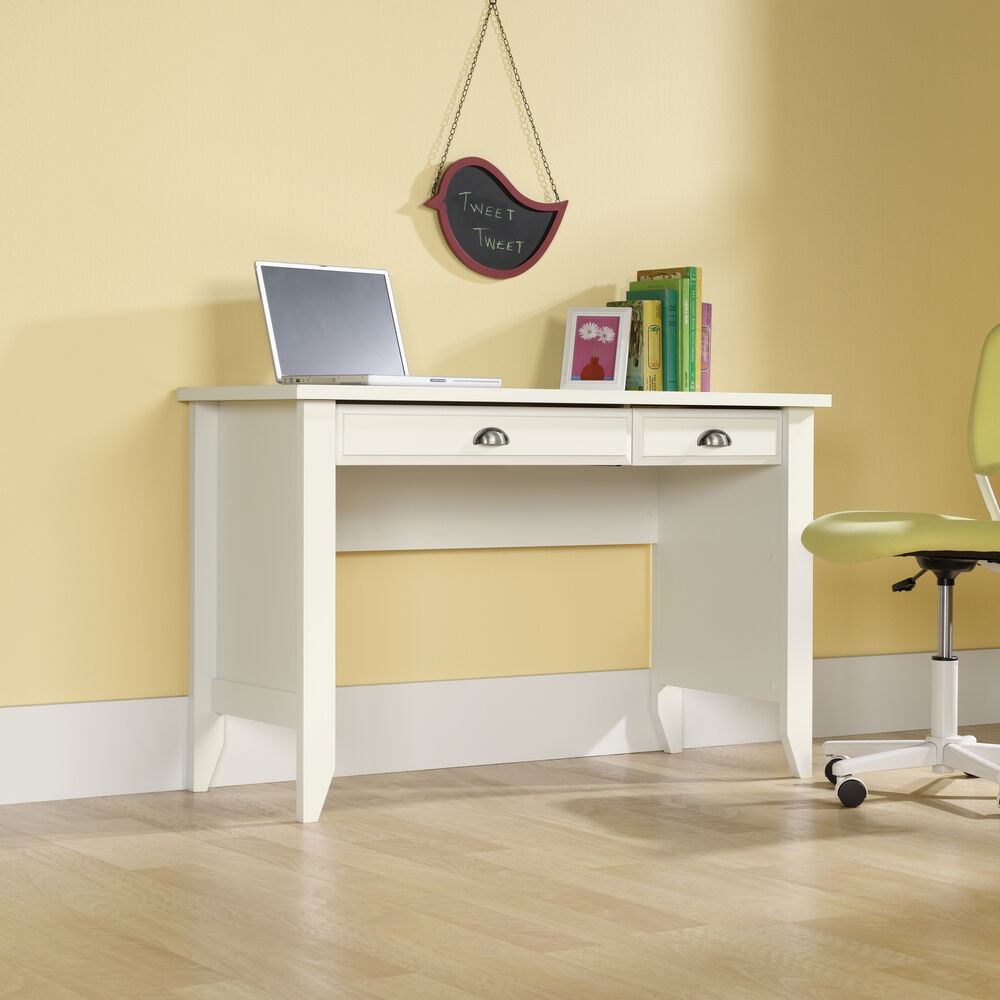 """47"""" Traditional Two-Drawer Computer Desk in Soft White"""