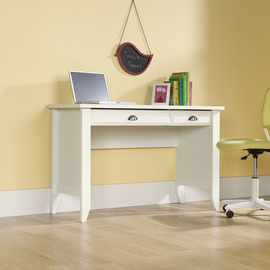 "47"" Traditional Two-Drawer Computer Desk in Soft White"