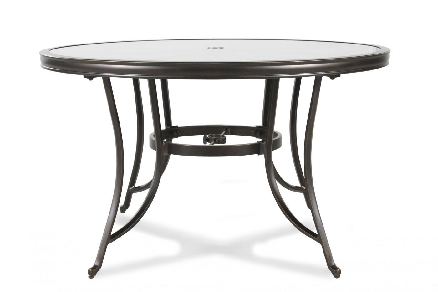 Images Stained Gl Top Aluminum Patio Table Nbsp In Black