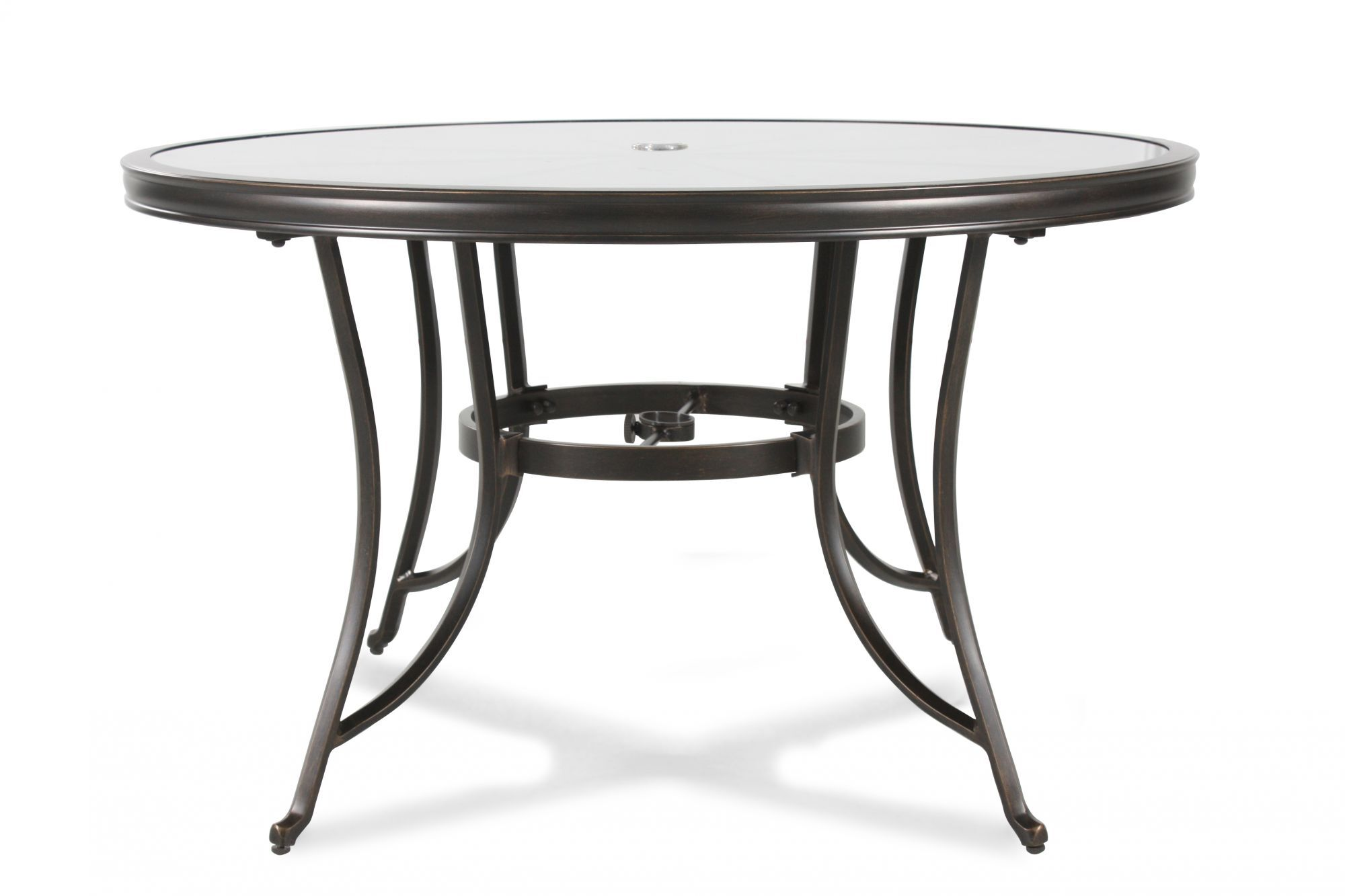 Stained Glass Top Aluminum Patio Table in Black | Mathis ...