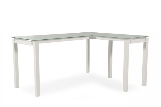 "61"" Contemporary L-Shaped Desk in White"