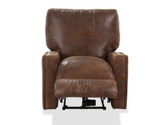 """Nailhead-Accented 39"""" Power Recliner in Ancient Brown"""