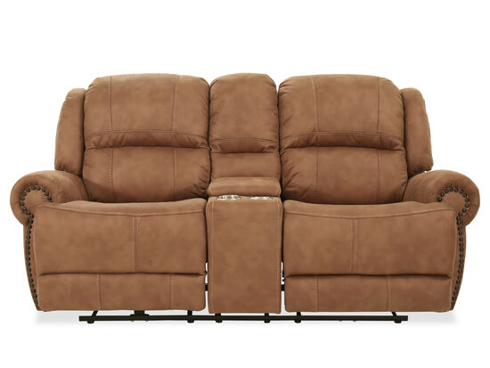 Nailhead-Accented Contemporary Power Reclining Loveseat in Brown