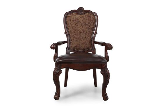 Cabriole Legs Leather 44'' Arm Chair in Dark Burgundy