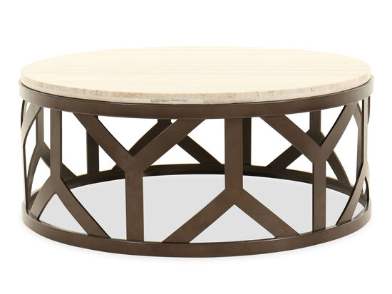 Stone-Top Contemporary Cocktail Table in Bronze