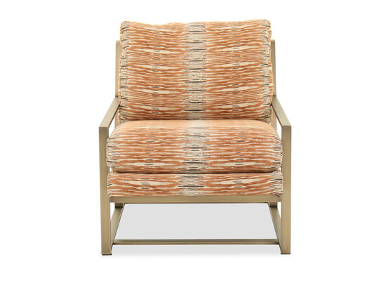 """Abstract-Printed Modern 31"""" Accent Chair in Orange"""
