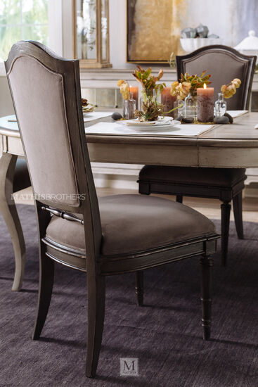 "Refined Romantic Luxury 44"" Side Chair in Gray"