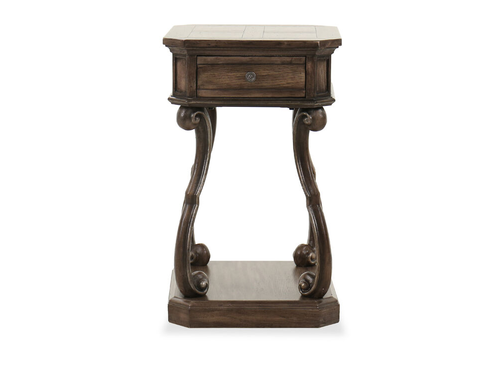 """29.5"""" Traditional One-Drawer Nightstand in Brown"""