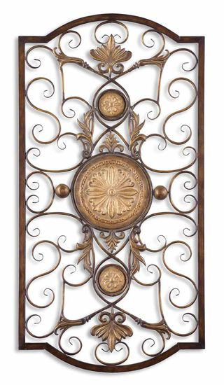 Scrollwork-Accented Medallion Wall Art in Distressed Chestnut Brown