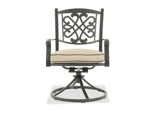 Scrollwork Aluminum Swivel Chair in Dark Brown