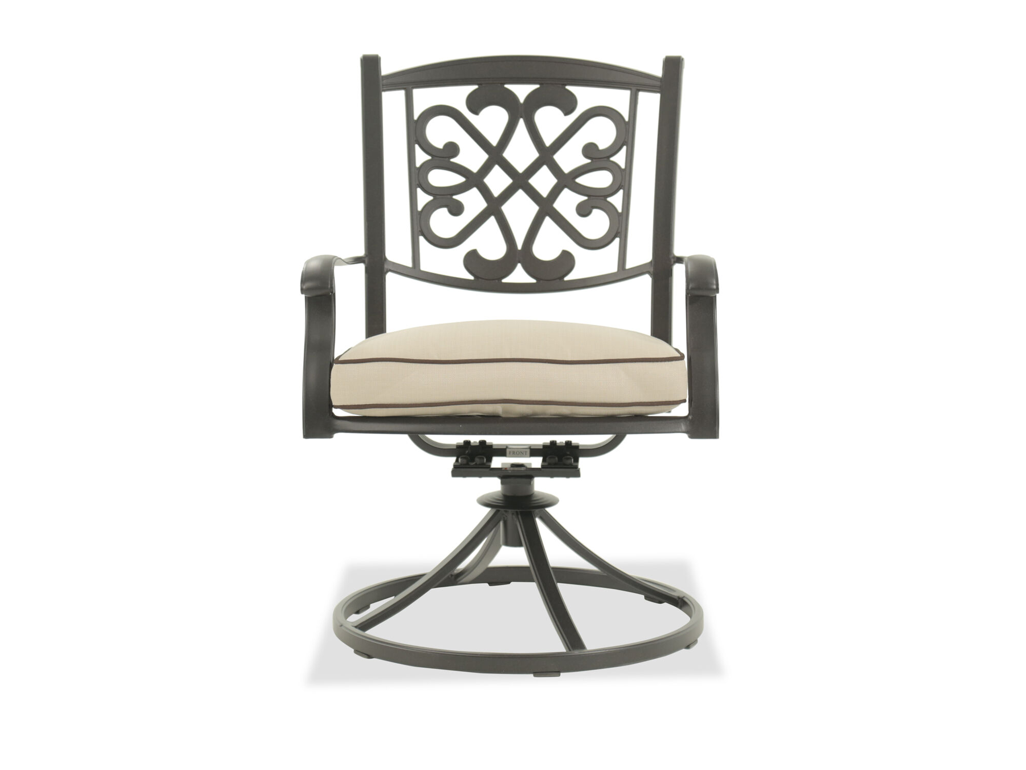Scrollwork Aluminum Swivel Chair in Dark Brown ...  sc 1 st  Mathis Brothers & Patio Chairs Outdoor Chairs u0026 Seating | Mathis Brothers