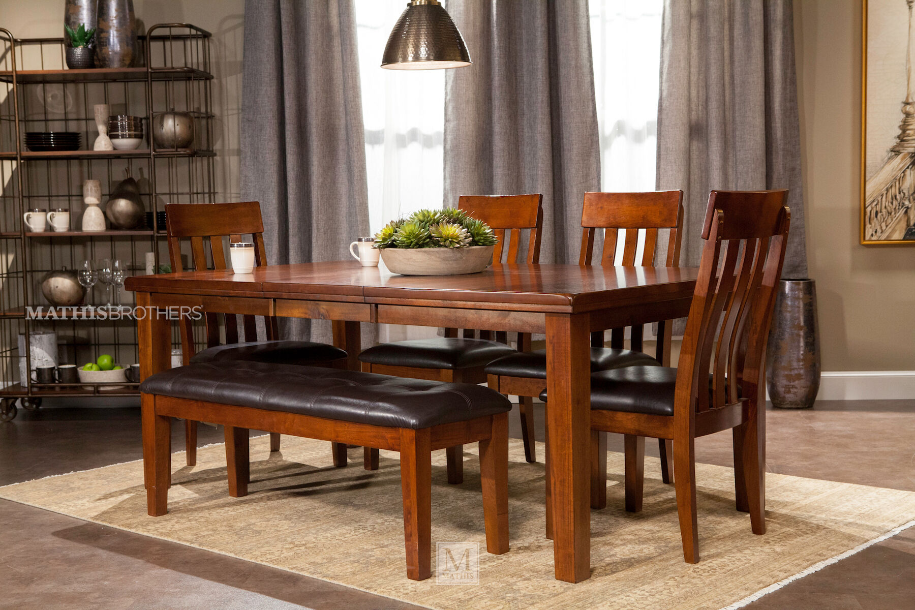 Charmant Six Piece Casual Dining Set In Brown