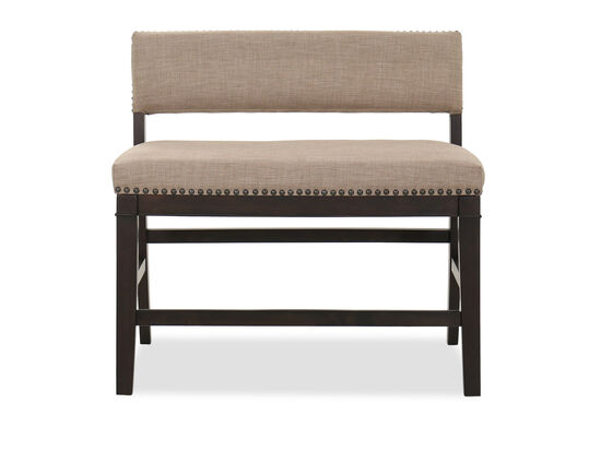 Nailhead-Accented Contemporary Counter Bench in Brown