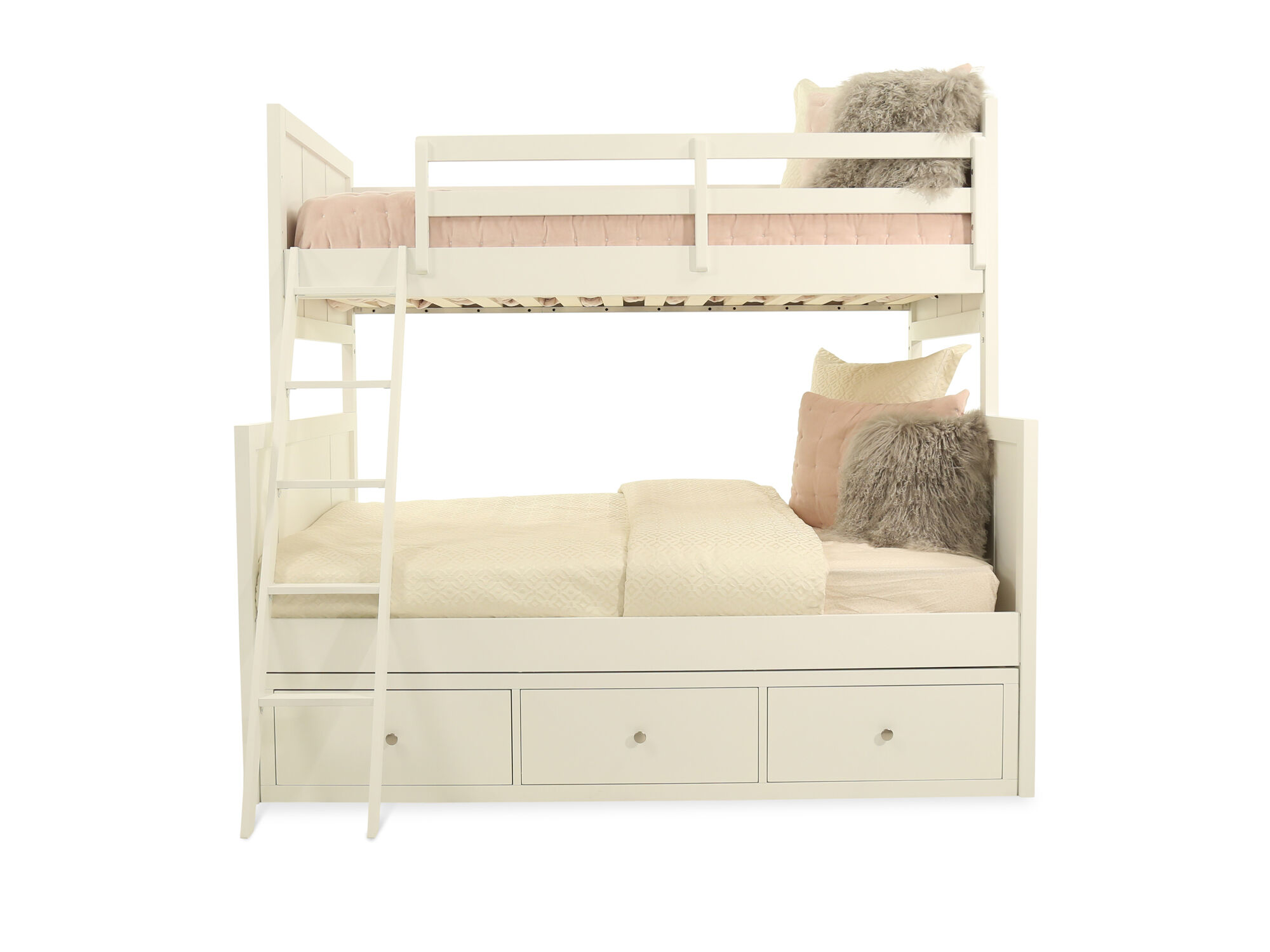 Casual Youth Twin Over Full Storage Bunk Bed In Cream Mathis