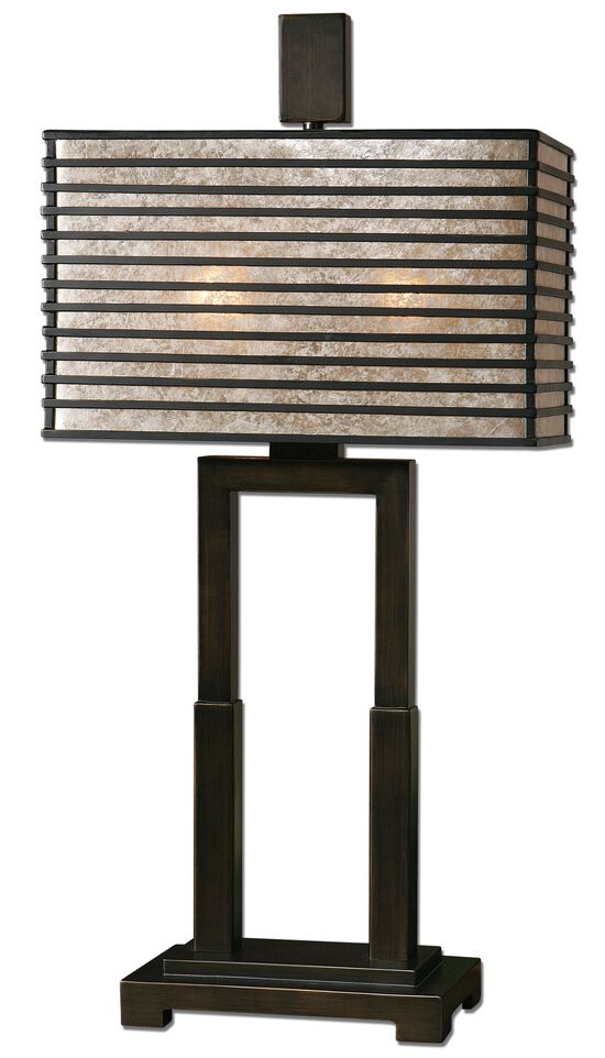 Caged Shade Openwork Table Lamp in Bronze