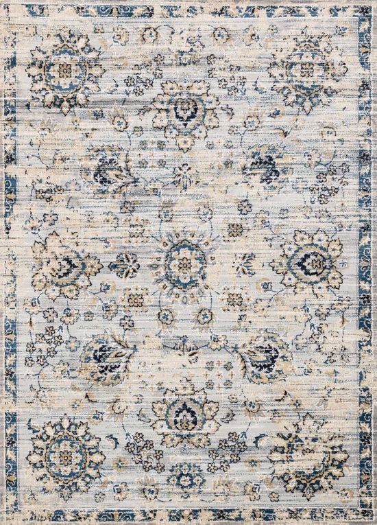"""Transitional 2'-7""""x4' Rug in Grey/Navy"""