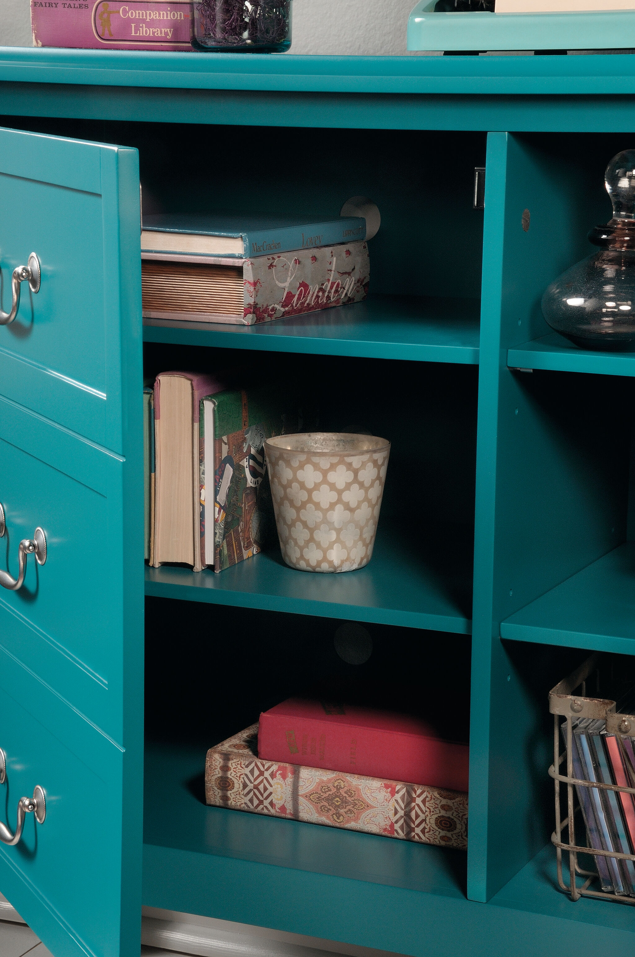 ... Two Adjustable Shelves Solid Wood Accent Storage