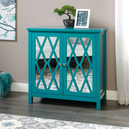 31.5'' Mirrored Doors Contemporary Accent Storage Cabinet in Caribbean Blue