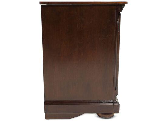 Two-Glass Door Traditional TV Stand in Dark Brown