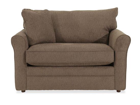 "Roll Arm Casual 54"" Twin Sleep Chair in Brown"