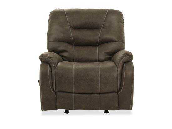 Leather 38'' King Rocker Recliner in Brown