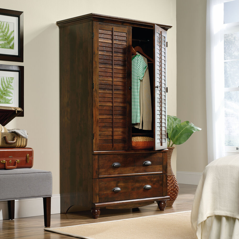 72 Contemporary Louver Door Armoire In Curado Cherry Mathis Brothers Furniture
