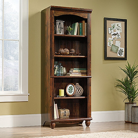 Contemporary Adjustable Shelf Open Library in Curado Cherry