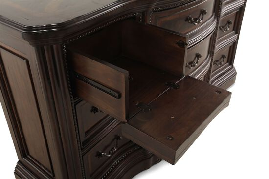 """41"""" Traditional Rope Accented Dresser in Brown"""