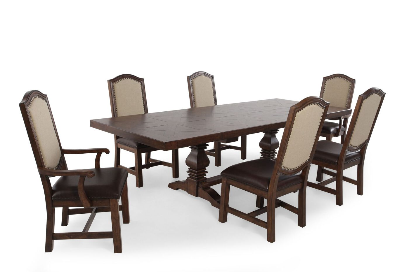 Seven piece traditional 72 39 39 to 108 39 39 dining set in light for 108 dining room table