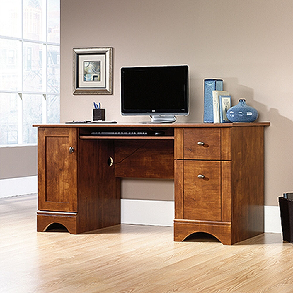 """59.5"""" Transitional Two-Drawer Computer Desk In Brushed"""
