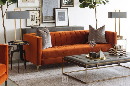Channel Tufted Velvet Sofa in Orange Crush