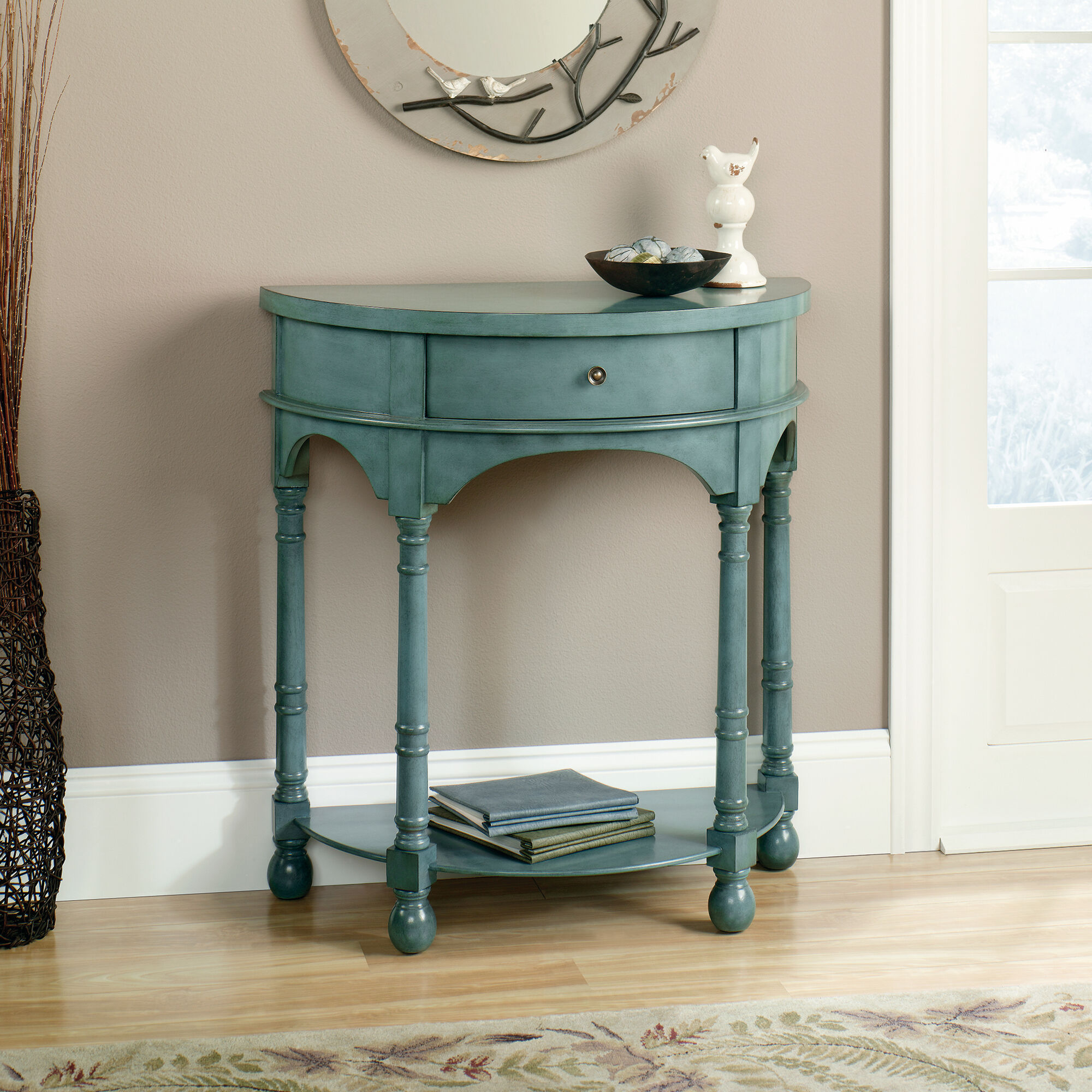 Conran Solid Oak Living Room Furniture Side End Lamp Table: Solid Wood Demilune Accent Table In Antique Teal