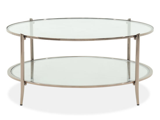 Round Tempered Glass Modern Cocktail Table in Bronze
