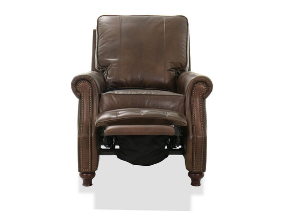 """34"""" Leather Nailhead Accent Recliner in Brown"""