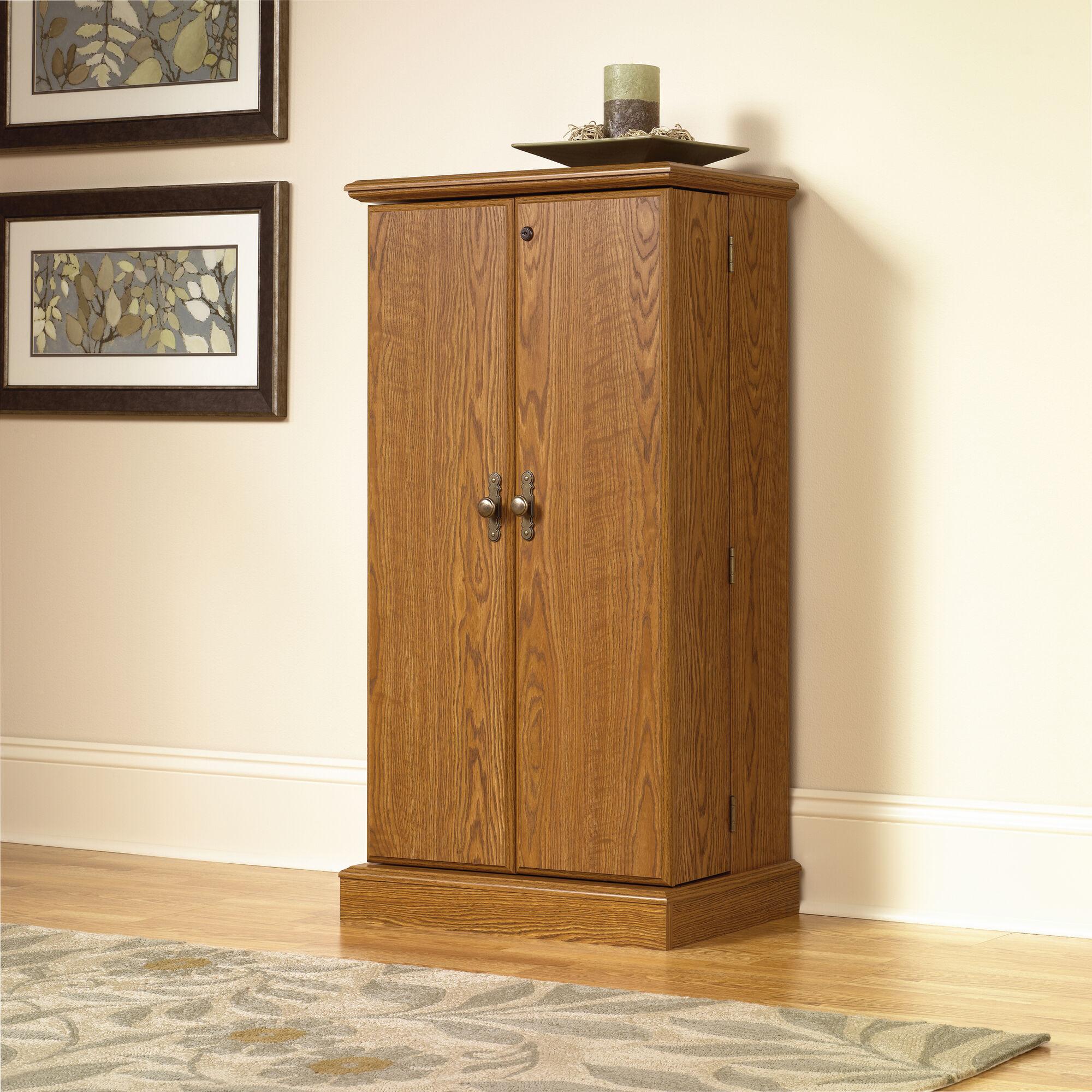 Two Door Traditional Multimedia Storage Cabinet In Medium Oak